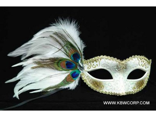 Venetian Mask with Peacock Feather