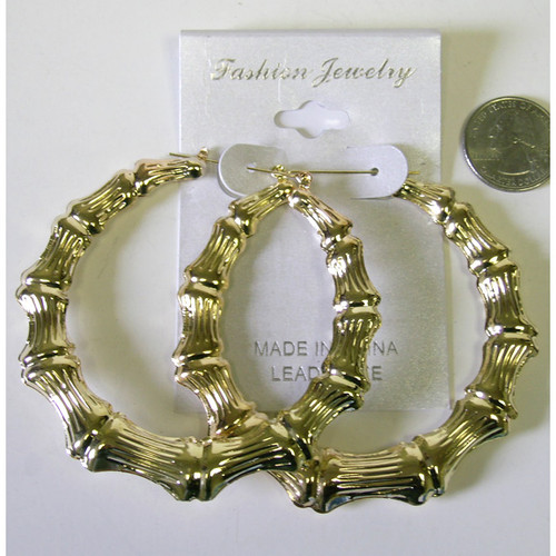 Bamboo Large Gold Color Earrings