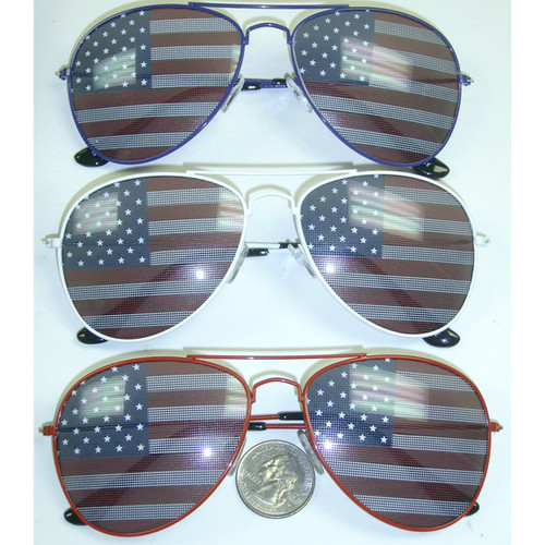 Aviator Frames with American Flag in Lens