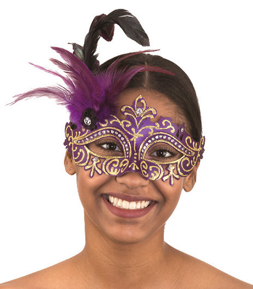 Mardi Gras Costume Mask w/Gold Glitter