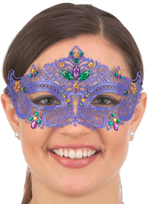 Mardi Gras Metal Filigree Mask w/Jewels