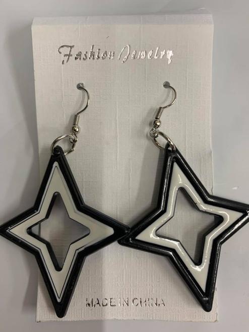 Black & White Star Mod Earrings