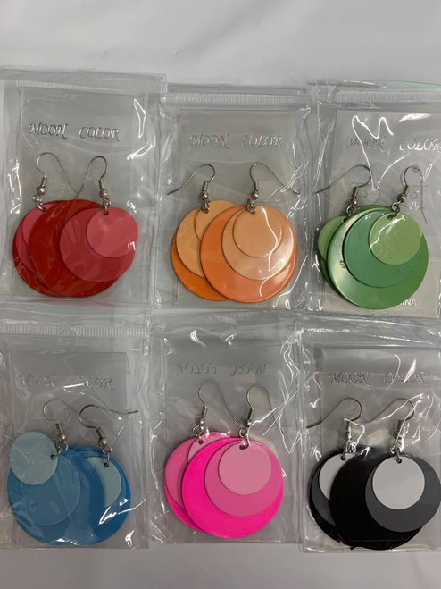 Layered Colored Style Earrings