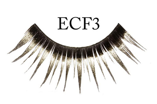 Black Eyelashes Glitter Silver Tipped