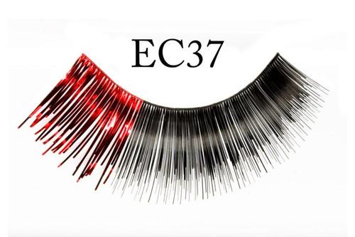 Black Eyelashes w/Metallic Red Accent