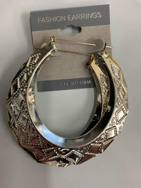Silver Earrings w/ Diamond looking Imprints
