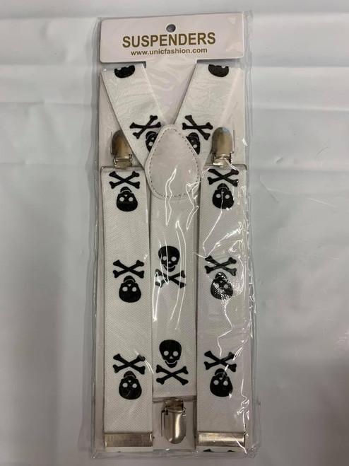White Suspenders w/Black Skulls