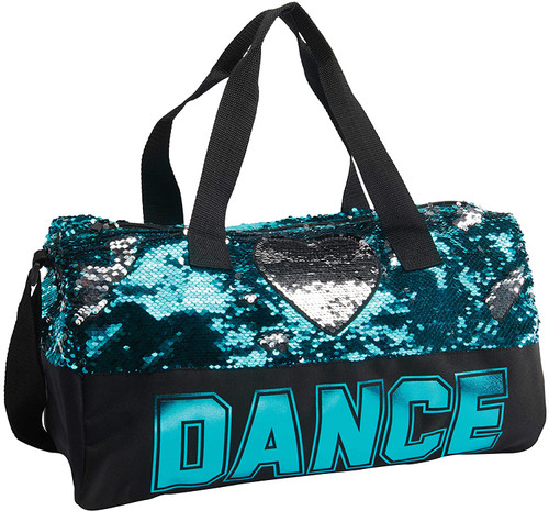 Turquoise Reversible Sequin Heart Duffel Dance Bag Style B842TRQ