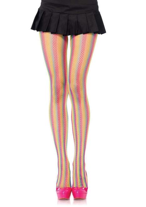 Tay Rainbow Striped Fishnet Tights