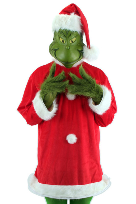 Dr. Seuss The Grinch Santa Costume Deluxe with Mask Mens XXL