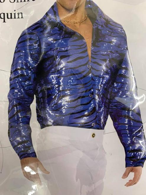 Tiger Disco Shirt - Blue Sequin