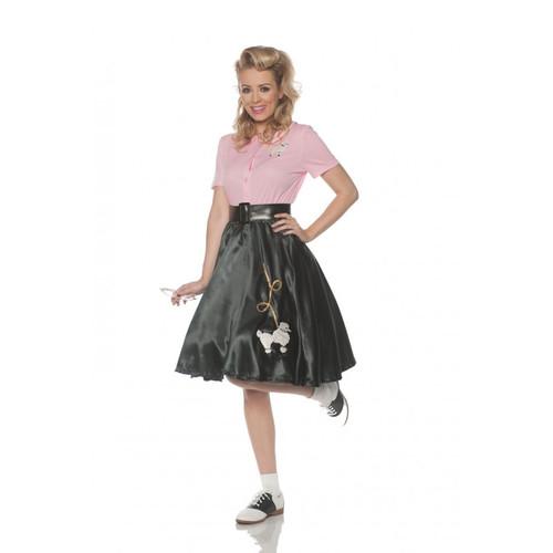 Satin Poodle Skirt Black