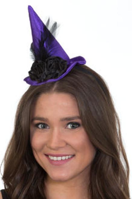Mini Witch Hat w/Black Flower