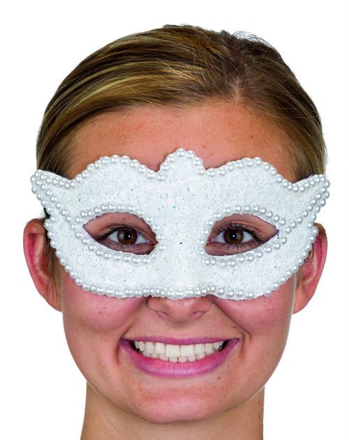 White Sequin & Pearls Mask