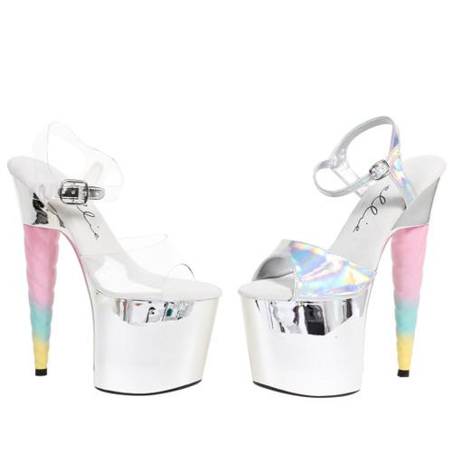 "Women's 7"" Heel Unicorn Heel Ankle Strap Platform Sandal"