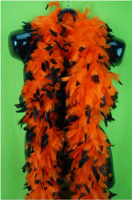 Feather Boa Orange w/Black Tips