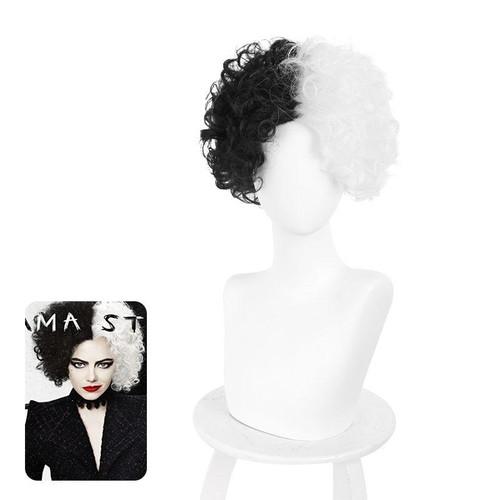Movie Cruella Cruella De Vil B Black White Curly Cosplay Wigs