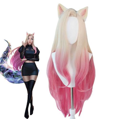 Game LOL KDA The Baddest Ahri 100cm Long Beige Gradient Pink Cosplay Wigs