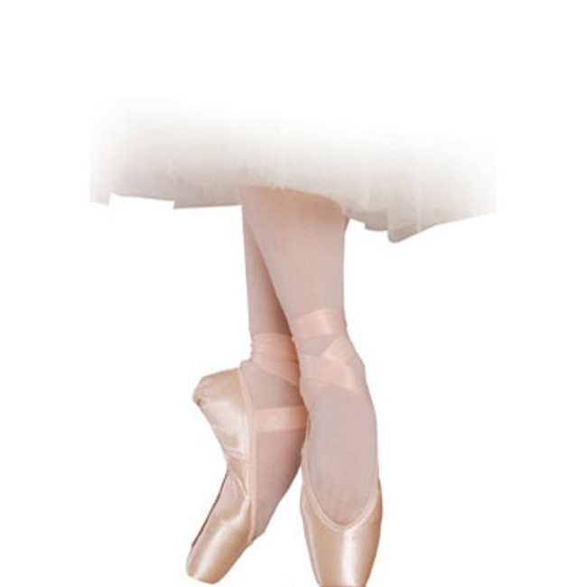 """RUBIN U-CUT – Pointe Shoes with Drawstring Rubin U-Cut Pointe Shoes (""""ruby"""") glow and captivate with elegance. The versatility of these u-cut pointe shoes has given Rubin unsurpassed popularity among discerning ballerinas. The low crown, wide platform size and slightly tapered box combine to suit a variety of foot shapes, while the pleatless platform gives a polished finish. Pliable, long-lasting shanks support with grace, and Russian Pointe's revolutionary pre-arched construction mimics the shape of the foot on pointe, to highlight the arch while facilitating pointework and minimizing break-in.  Suits a variety  of foot shapes!  Wide toe platform Slightly tapered box Low crown Pre-Arched Construction"""
