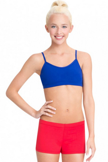 The Cami Bra Top scores as an instant staple for dancers. Highlights include adjustable straps, front lining and multiple colors to complement every mood. Ideal on its own or worn under layers.  Product Features: Camisole bra top 90% Nylon, 10% Spandex Adjustable straps with metal sliders and loops Self-fabric front lining Scoop front with bandeau back Fitted Recommended care: Machine wash cold, delicate cycle and hang dry