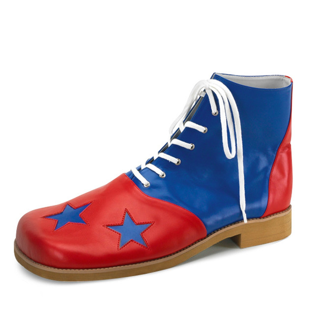 /clown-shoes-with-non-slip-tread-blue-red-stars/