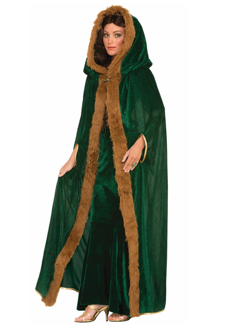 /faux-fur-trimmed-cape-forest-green-with-brown-fur/