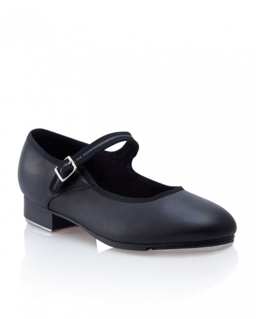 """Classic leather upper tap shoe with leather full outsole and 1"""" heel.  Features  The toe tap is secured to a resonating board for a full deep sound and stability Non-slip pro balance rubber pad Elastic strap join to release tension on the instep Sound resonating boards Bloch techno taps Strong heel and toe counter for durability Cushioned insole for comfort and shock absorption Fabric  Leather Sizing Information & Suggestions  Start with 1 full size up from street shoe."""