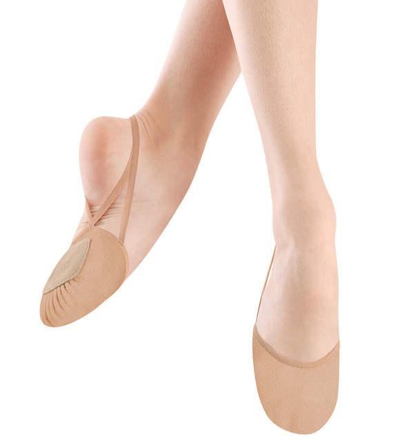 Contemporary and lyrical shoe that protects the toes and ball of the foot while dancing with a barely there look.  Features  Soft canvas upper Vamp cut hugs the foot without restricting movement Silicone backing on elastic strap to prevent strap from slipping while on foot Cotton terry lining under foot for comfort Leather front outsole with traditional ballet shoe pleating for turning ease Fabric  Canvas