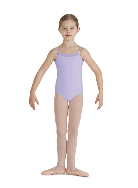 Bloch girls lace trim chevron back camisole leotard