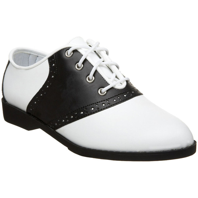 "Adult black and white saddle oxford 1"" heel"