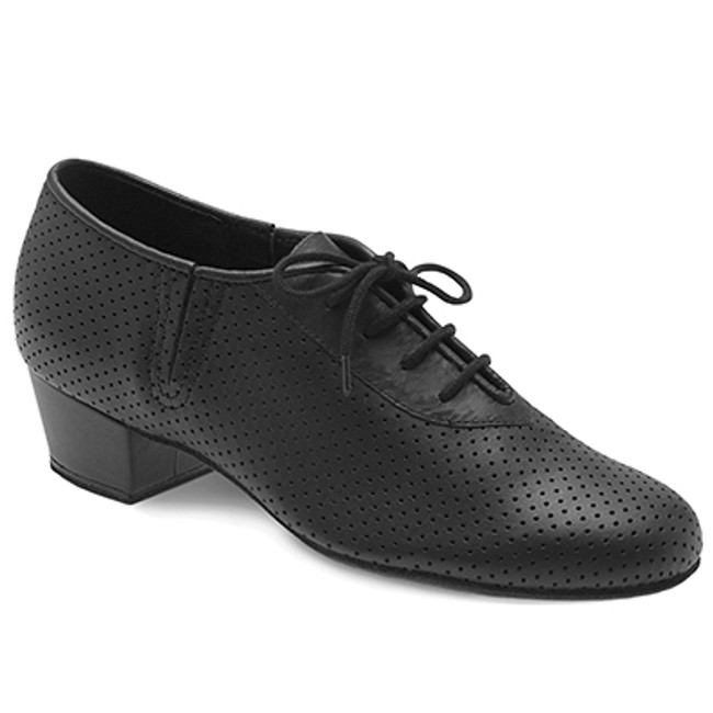 Low wide heel with perforated leather for aeration makes for a practical and stable dancing shoe.  Features  Low, wide heel and perforated leather upper for aeration, is a staple practice shoe for all styles of partner dance Suede outsole, perfect for turns and slides Laces to adjust width fitting 'V' elastic inserts on lateral and medial quarters allowing the shoe to point with a dancer's foot and create a longer line Cushioned insole for comfort, shock absorption and to protect the metatarsals Fabric  Leather