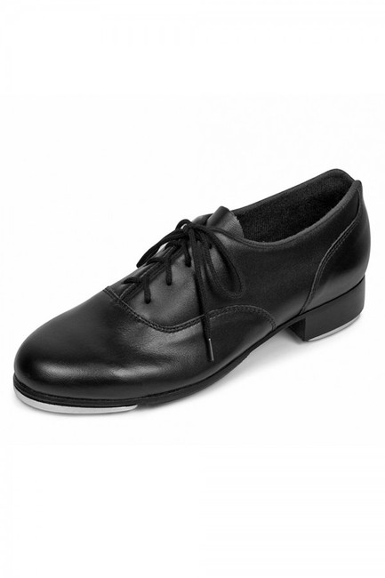 Classic oxford tap shoe with leather upper and full leather outsole.  Features  Premium all leather upper and sole tap shoe with stitched in heel counter for greater stability Non-slip pro balance rubber pad next to the front toe tap provides secure grip to prevent slipping and levels the sole for better balance Straight leather stacked heel for extra heel weight tone Firm toe puff retains shoe shape and protects toes Bloch's shockwave taps that are secured to a resonating board for a deeper sound Soft Cashmere lining for comfort and reduced moisture Cushioned insole for comfort and shock absorption Notched collar at heel to reduce pressure on Achilles tendon Fabric  Leather Sizing Information & Suggestions  Start with same to 1/2 size up from street shoe.
