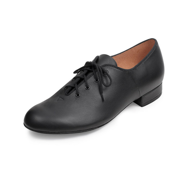Men's jazz oxford features a leather upper and a suede sole.  Features  A jazz oxford style upper of strong, soft leather combined with a full leather sole make this shoe durable and extra stable Suede full outsole and cushioned insock for shock absorption and comfort Designed with reinforced eyelets Functional lace up men's dance shoe suitable for stagecraft, character or ballroom Flat stacked heel Fabric  Leather Sizing Information & Suggestions  Men start with 1 full size down from street shoe