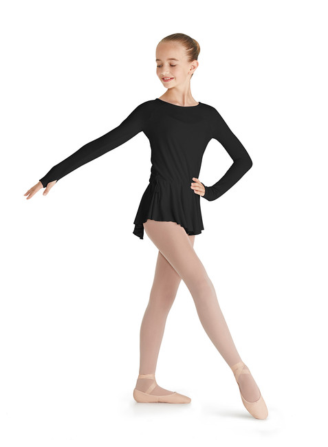 Ballet long sleeve t-shirt from the Mirella brand, with built-in skirt.  Long-sleeved T-shirt perfect for ballet, in pink and black for girls. With long sleeve with opening for the thumb, round neckline open at the nape of the neck and skirt open at the back with two cord loops.