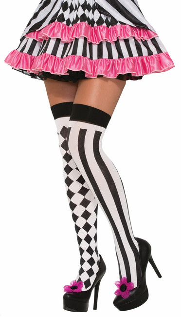 /harlequin-thigh-highs-black-white-strip-vertical-checkerboard/