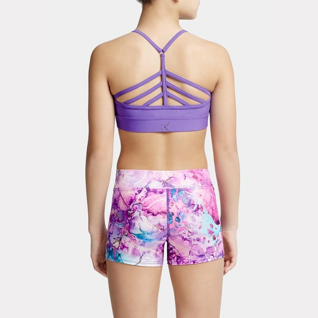 """This Boho Fairytale Blissful Bra Top from Capezio features: - A front pinch  - Strappy racer back detail - Band measures 1.5"""" on size medium - Fully front lined     Material: 80% Nylon, 20% Spandex"""
