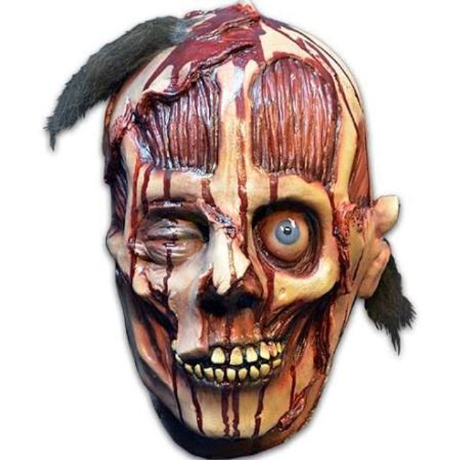 DUI is the second of four masks from the repainted Distortions Unlimited Collection. A mixture of skin, skull, and tendons exposed. Collect them all! This Latex mask is a one size fits most adults. It is a full over the head mask.