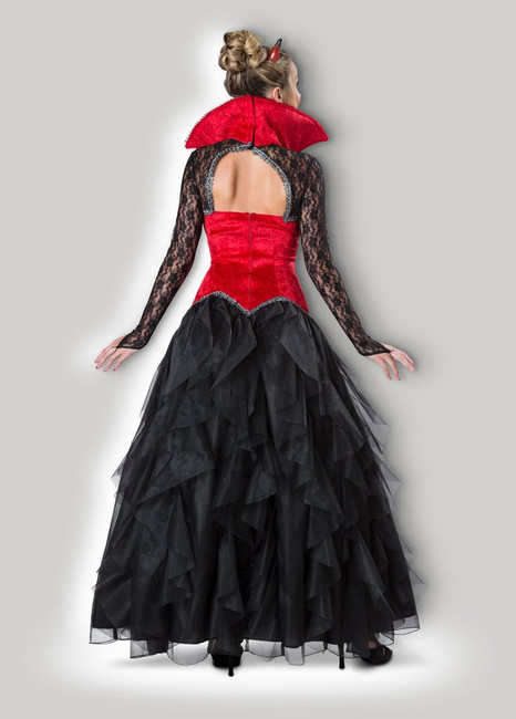 She'll easily seduce even the most saintly of souls in this devilishly delicious crushed red velvet and black lace gown with embroidered bodice, full petticoat and sculpted horns.