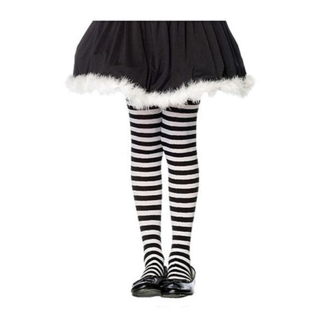 childrens striped tights black and red