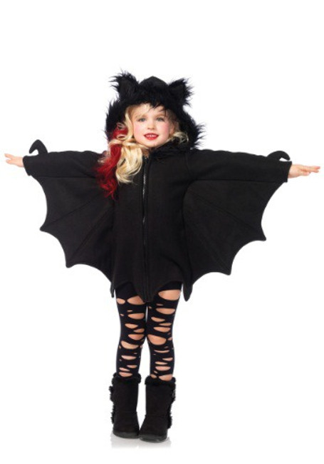 Fly into the night in Leg Avenue's Cozy Bat Halloween costume. This zipper-front fleece dress features bat wing sleeves and adorable furry bat ears on the hood. This costume is so comfy, you'll never want to take it off!