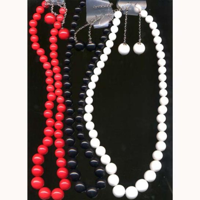 Large bead and necklace and earring set