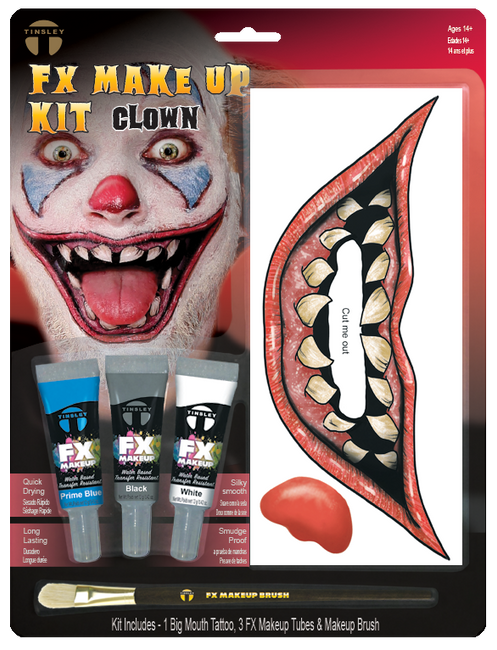 FX Transfers Latex Free Clown makeup kit self adhesive transfers  This kit includes:  1 Big Mouth Tattoo 3 FX Makeup Colors 1 FX Makeup Brush This kit combines our temporary tattoo Big Mouth Tattoo FX with our new line of FX Makeup. Everything in this kit was designed for easy application with maximum results in character creation.
