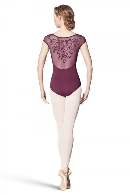 Destiny fine flock back cap sleeve leotard
