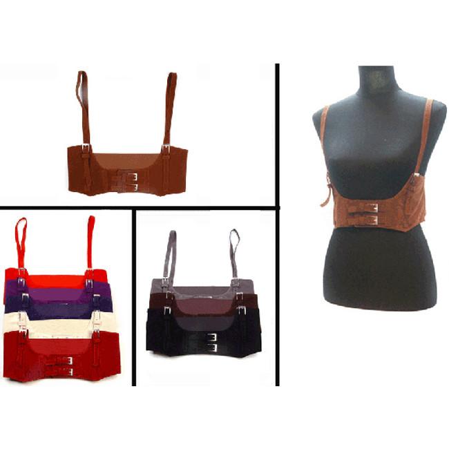 Steampunk corset belt with shoulder straps assorted colors