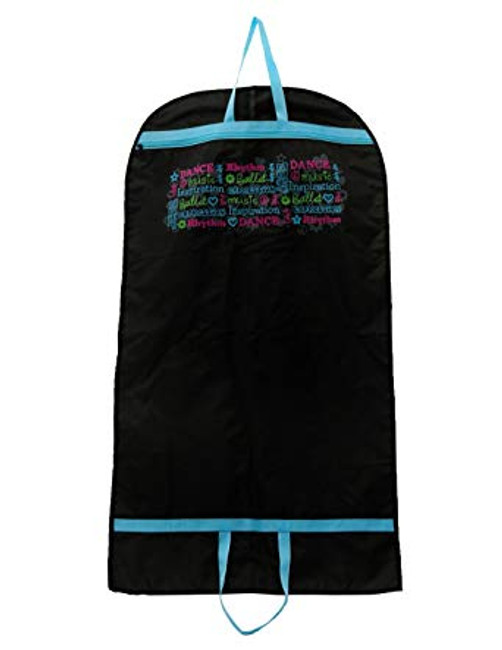 "Expression Garment Bag 4017 Screen print design features numerous dance-related words in a variety of font styles and colors. Full-length center zipper. Nylon web handles at top and bottom; carry full length or folded in half. Single layer, not lined. Medium, 44"" x 24"". Ultra-lightweight. Material: nylon."