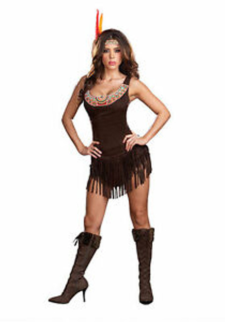 Pocahottie Native American Brown Micro Suede Dress w head piece