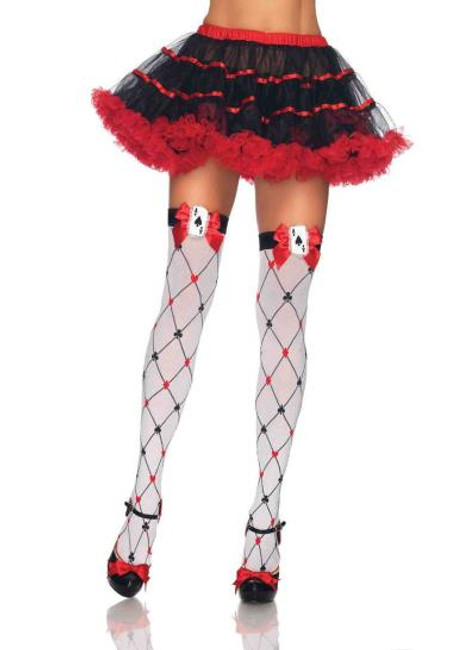 Diamond Card Suit Thigh highs with Bow and Card charm applique