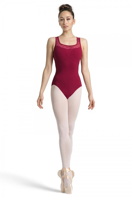 This tank style leotard has a sweetheart shaped neckline, complemented with a contrasting wave mesh mesh scoop and tank strap inserts. The wave mesh detailing carries around to the back of the garment for an eye catching low wave mesh back design.  Features  Wave mesh scoop front and high back line Sweetheart bustline and empire waistline for a flattering fit Wave mesh deep back Full front lining Fabric  Main: 90% Nylon, 10% Spandex Matte Contrast: 89% Nylon, 11% Spandex Wave Mesh Notes  Machine wash cold, lay flat to dry