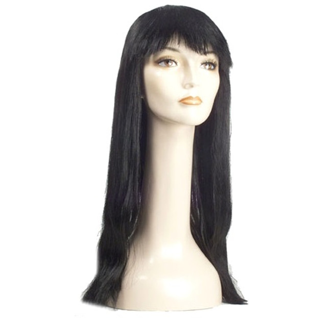 Long, straight hair with bangs