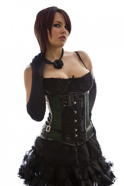 Fetish black and green satin underbust training corset